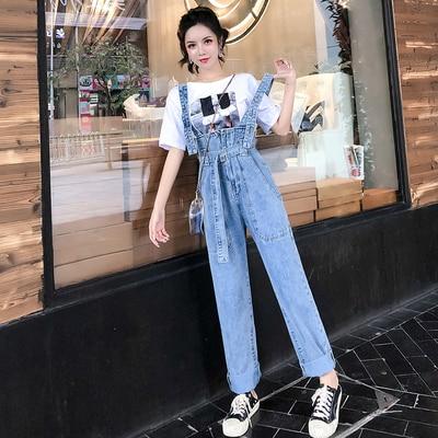 Spring High Waist Jeans Women Lace Waist Tie Denim Overalls Women 2020 2