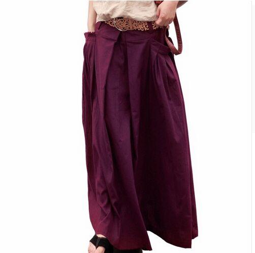 Qaturalan Women Linen Long Summer Skirt 2018 Saia Solid Faldas Skirt Maxi Women Big Pockets High Waist Pleated Casual Skirts 4