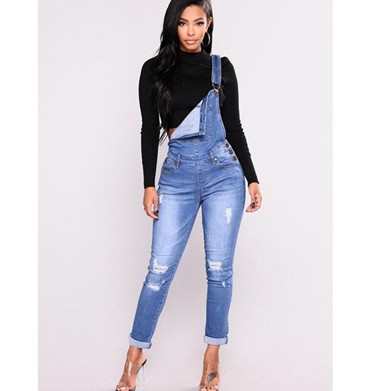 Autumn pants ladies pants suspenders jean women hole pencil pants new belt jeans spring 3