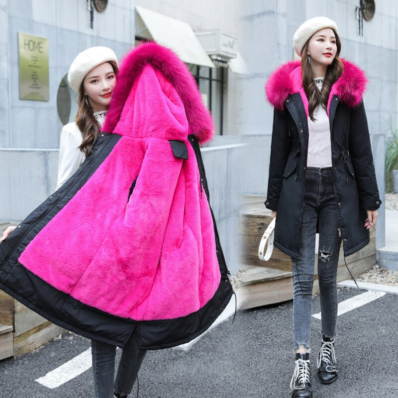 New Arrival Women Autumn Winter Jacket Cotton Lining Padded Warm Big Fur Collar Long Coats Parka Womens Jackets Office Lady 4