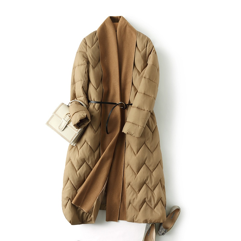Original fashion style winter long women's jacket thicken coat loose cotton padded parkas cloak type outwear soft comfortable 3