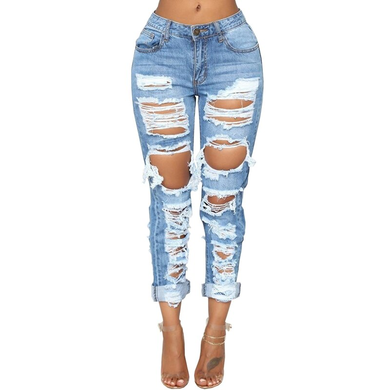 Fashion Ripped Jeans For Women Denim Straight Pants Trousers Mid Waist Casual Skinny Jeans Torn Jeggings boyfriend jeans 2020
