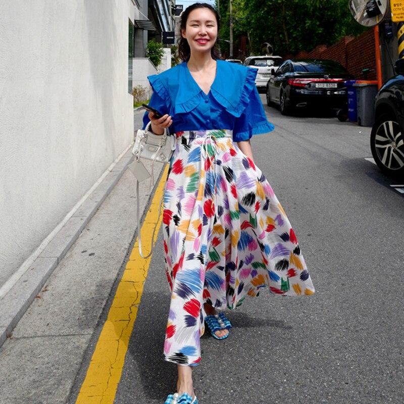 Colorful White Print Women Long Skirts New Korean Chic SummerLace-up High Waist Skirt Large Sewing Bohemian Beach Skirt 2020 3