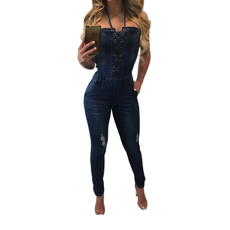Denim Overalls Women 2018 Sexy Halter Jeans Jumpsuits Square Neck Sleeveless Playsuits Body For Women Rompers Womens Jumpsuit 2
