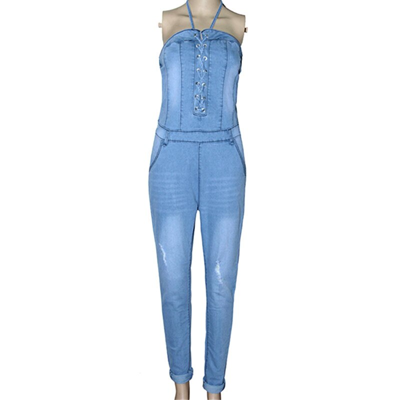 Denim Overalls Women 2018 Sexy Halter Jeans Jumpsuits Square Neck Sleeveless Playsuits Body For Women Rompers Womens Jumpsuit 4