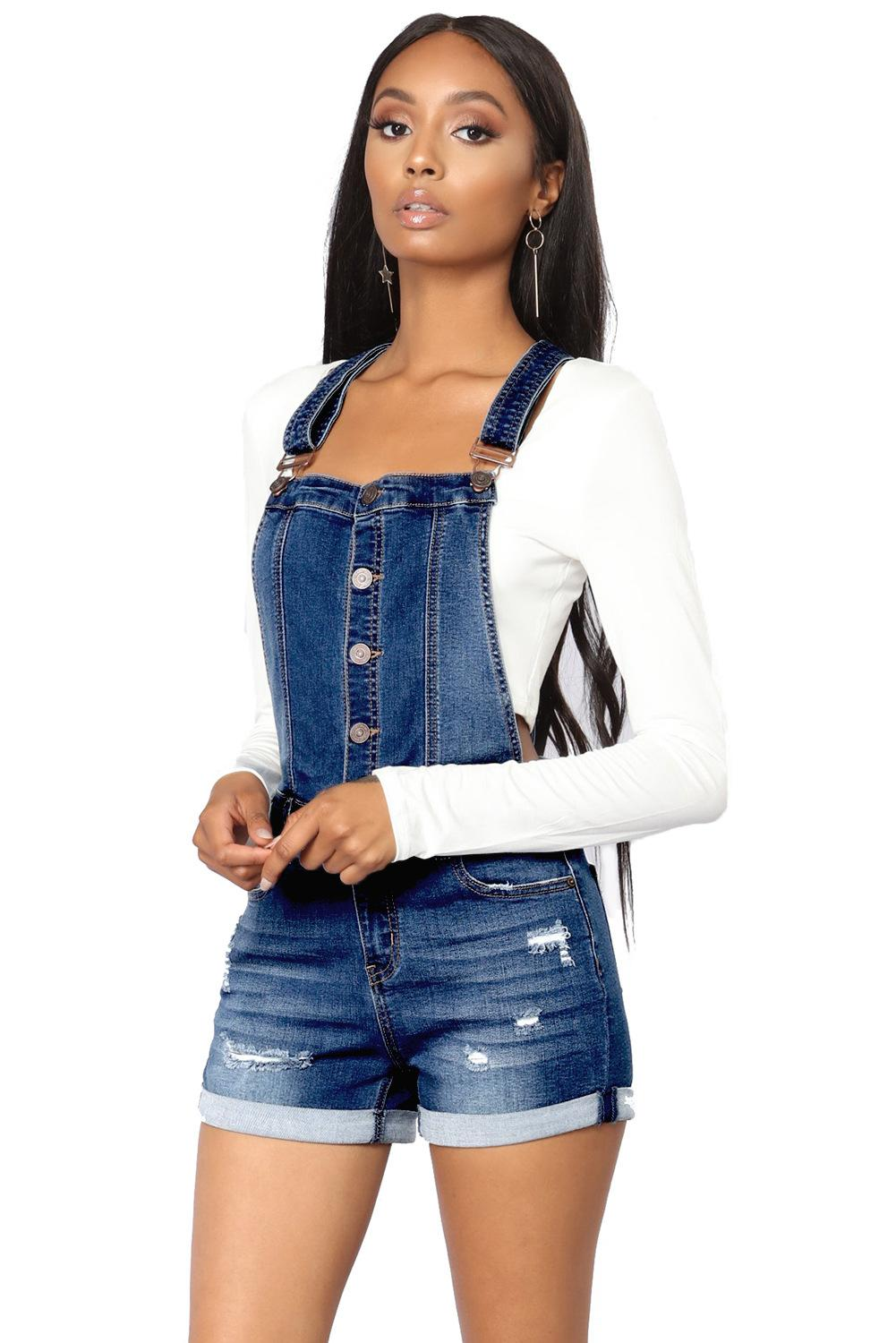 Women Summer Denim Bib Overalls Jeans Shorts Jumpsuits and Rompers Playsuit 2