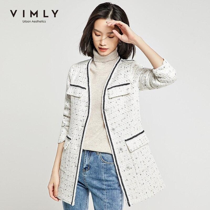 Vimly Women Jacket Elegant Office Lady Single Breasted Patchwork Pockets Long Coat Spring Autumn Vintage Female Overcoat 98665 3