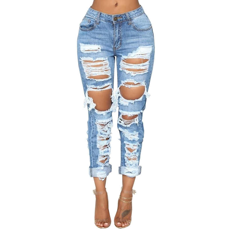 Fashion Ripped Jeans For Women Denim Straight Pants Trousers Mid Waist Casual Skinny Jeans Torn Jeggings boyfriend jeans 2020 1