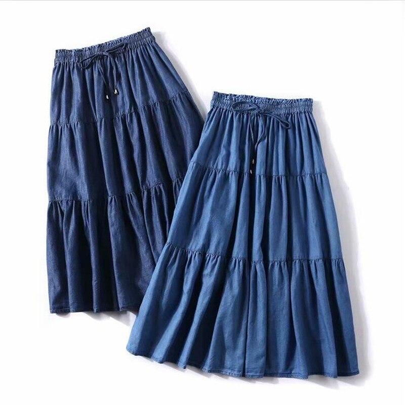 Summer Solid Color Korean Style Women Long Skirts Loose Ruffles Denim Skirts High Elastic Waist Slim Skirts Plus Size M-7XL