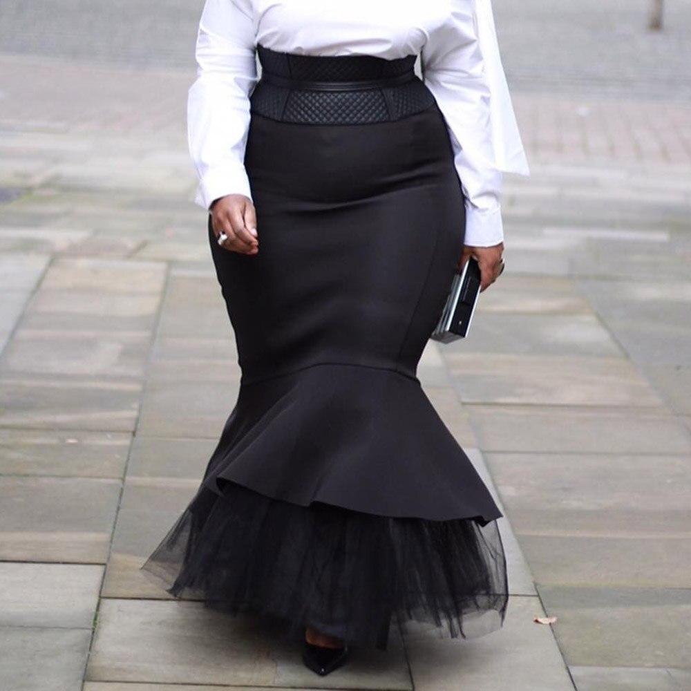 4XL 5XL Plus Size Skirts 2020 Autumn Winter Women Long Skirts Vintage Evening Party African Ladies Mesh Patchwork Mermaid C 2