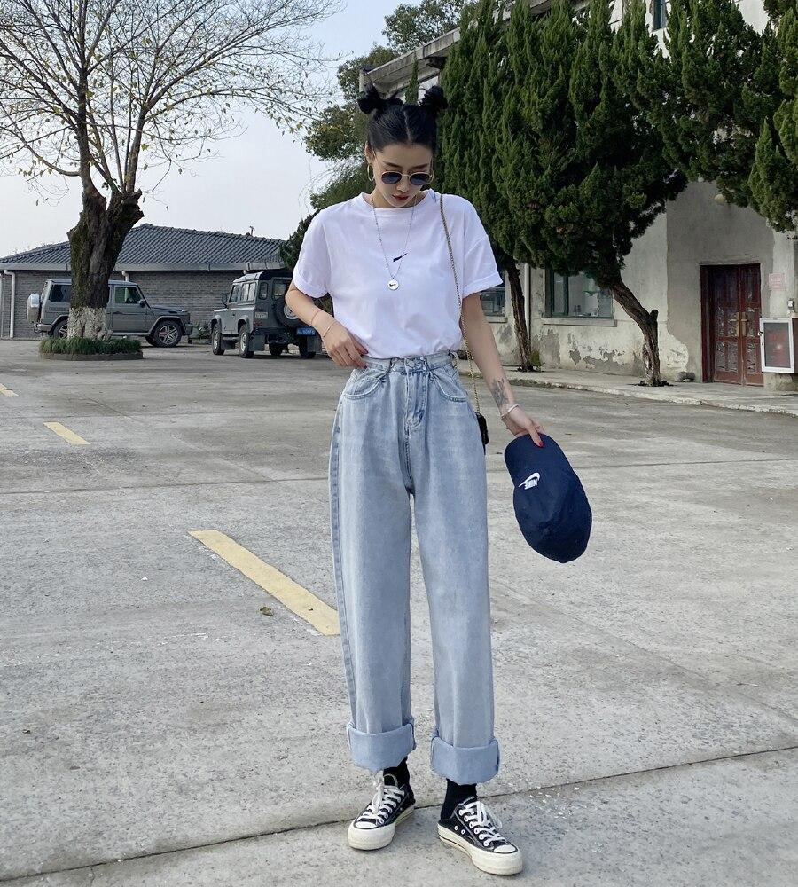 Women Jeans For Women Fashion Straight Loose Boyfriend Chic Full Length High Waist Casual Cotton Jean Female Denim Pants WJ124 4