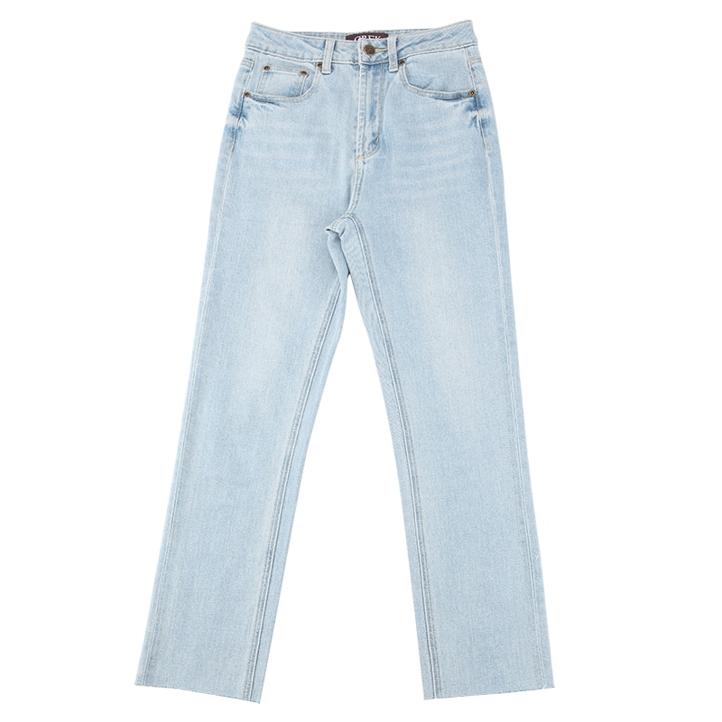 CREK Momjeans Spring and Summer Washed Light Blue Tassel Soft Material Comfortable High Waist Small Straight Jeans Women 3