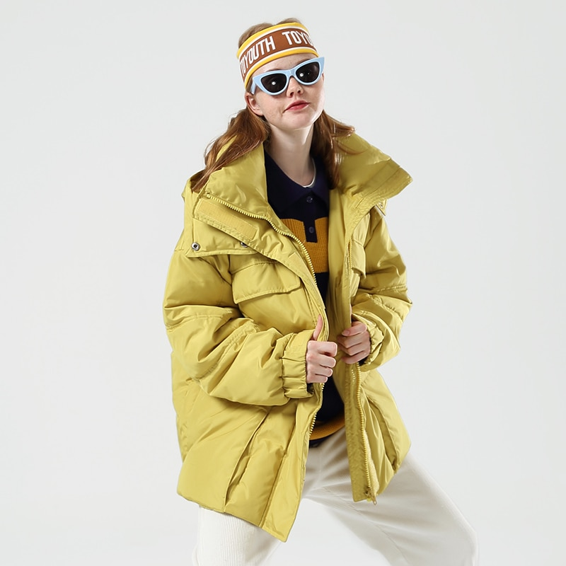 Toyouth Fashion Big Pockets Long Women Down Jacket Thicken Winter Warm Hooded Coat Casual Solid Long Sleeve Women Down Coat 1