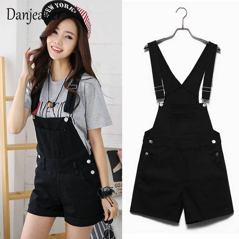 Danjeaner Short Denim Jumpsuit Romper Women Summer Overalls Casual Jeans Short Playsuits Distressed Details Slim Dungarees Femme 4