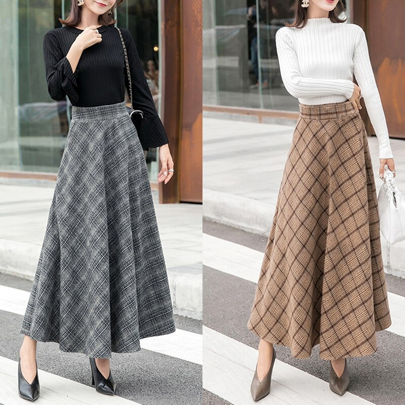 Elegant Plaid Warm Wool Womens Long Skirts Winter High Waist Streetwea Ladies Woolen A-Line Skirt Casual Female Saia Longa 1