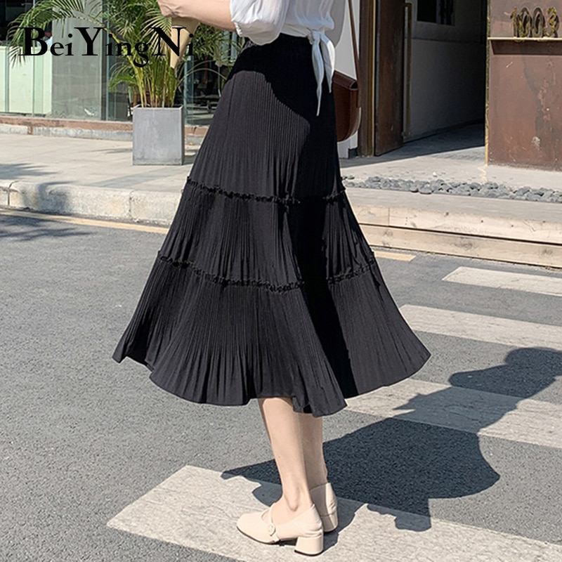Beiyingni Vintage Casual Pleated Skirt Women Patchwork Long High Waist Midi Cake Skirt Elegant Harajuku Saias Faldas Maxi Jupe 4