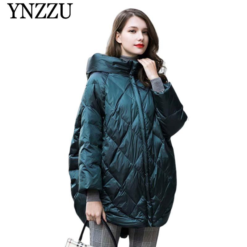Solid Oversize Hooded Women down jacket 2019 Winter warm long down coat Green black loose fashion Overcoat Autumn YNZZU YO953 1