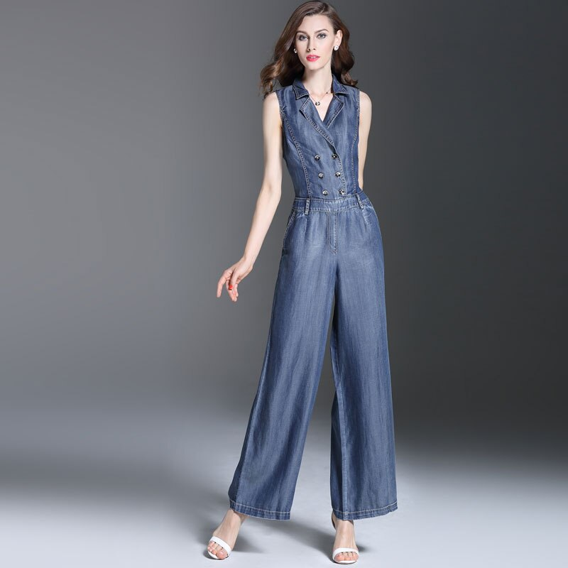 Summer Spring Fashion Womens Double Breasted Sleeveless Jumpsuits , Overalls , Casual Female Wide Leg Jeans Jumpsuit For Women 2