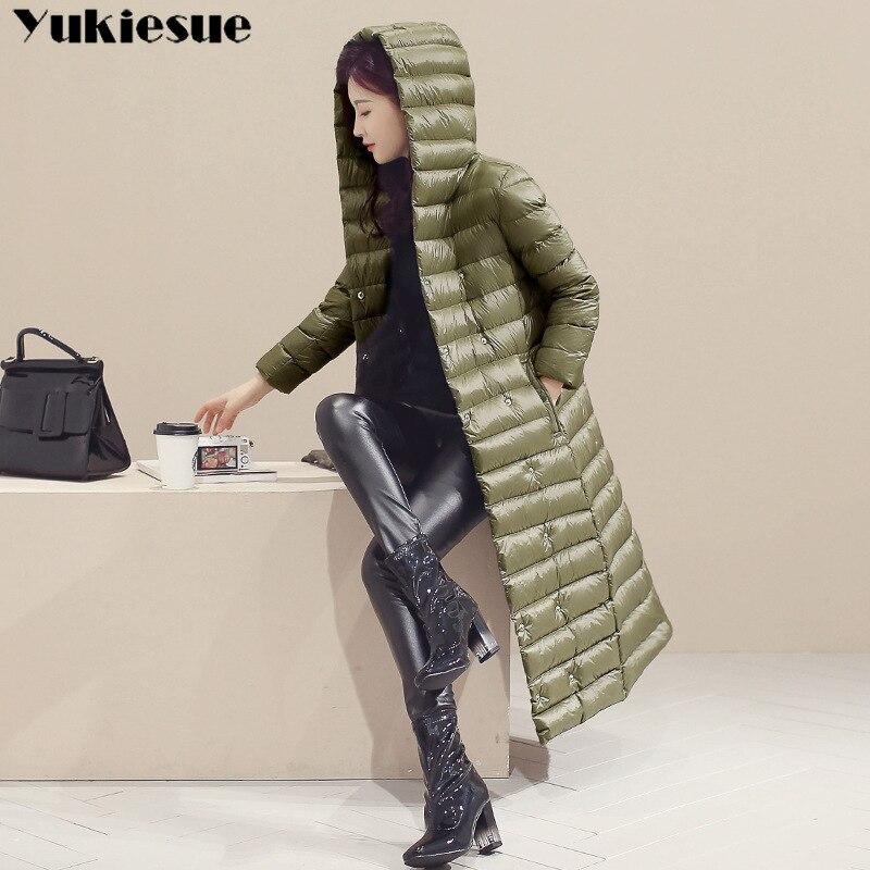 2018 Spring Plus Size 3XL Long Womens Down Jackets Ultra Light 90% Duck Down Coat Winter Hoodie Puffer Jacket womens parkas 4