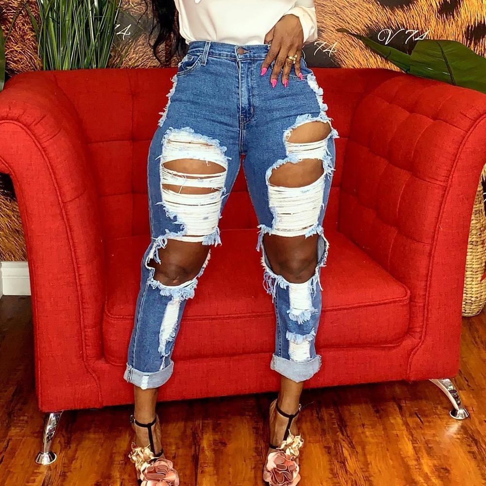 Women's high waist jeans hot sale women's ripped jeans fashion slim trousers women's straight jeans tassels women's casual jeans 3