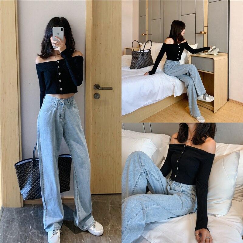 High Waist Mom Gloria Plus Size Denim boyfriend Jeans For Women Streetwear Straight Jean Femme Blue Cargo Pants Wide Pants 3