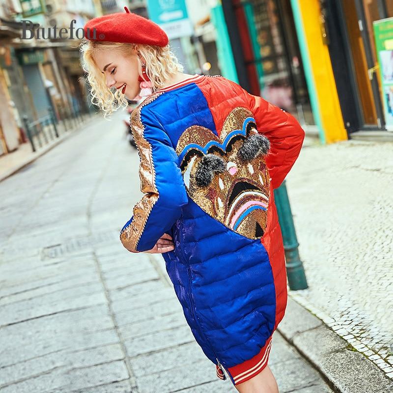 2020 Winter raccoon fur diamond long coats fashion embroidery sequins patch designs women down jackets 1