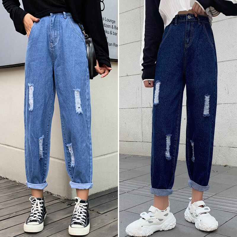 Ripped Mom Jeans High Waist Straight Jeans For Women Wide Leg Denim Pantalon Jambe Large Femme Distressed Jeans Pants 2020 New 4