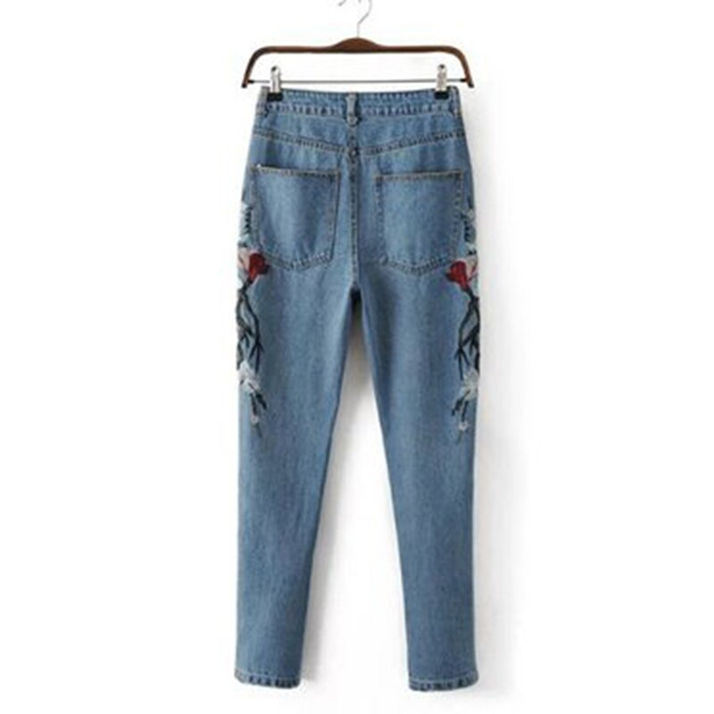 2019 Autumn Fashion Floral Embroidered Jeans For Women Vintage Straight Jeans Woman Denim Pants female Light blue casual pants 4