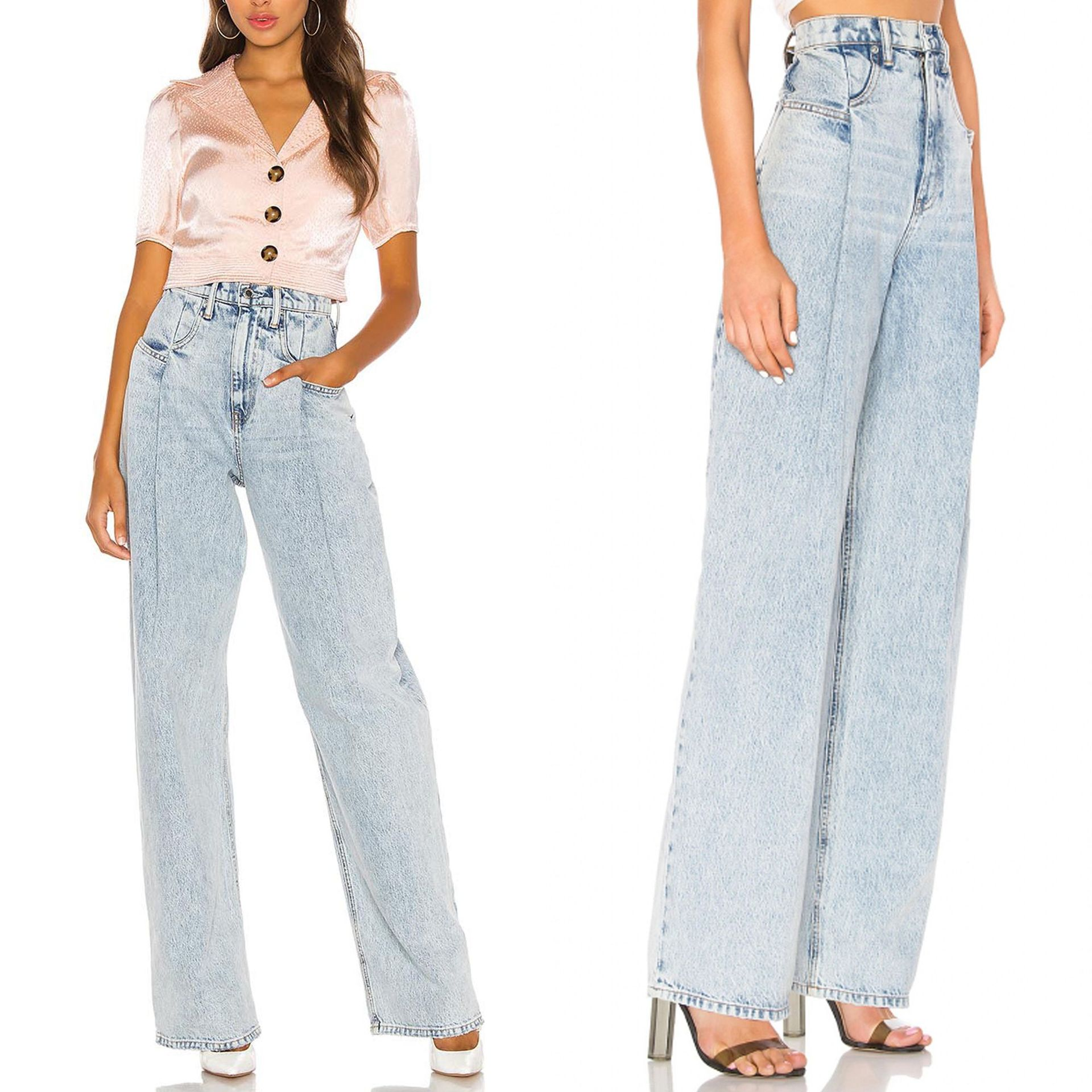 kpop Celebrity ROSE the same summer High waist Wide Leg Loose Straight Jeans women streetwear fashion Loose Straight denim pants 4