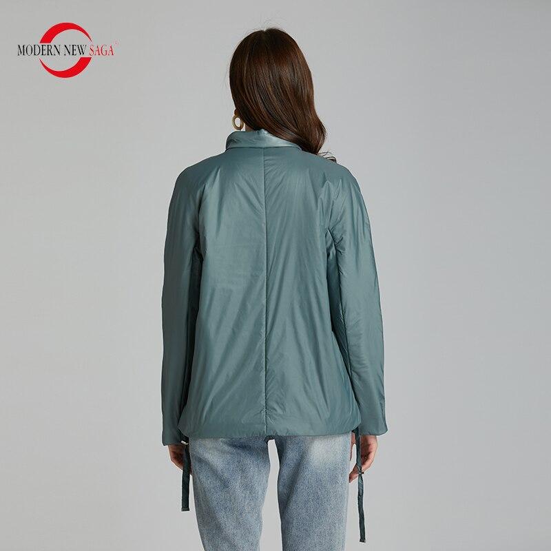 MODERN NEW SAGA 2020 Spring Women Jacket Thin Cotton Padded Jacket Autumn Women Coat Standed Collar Puffer Jacket Women Green 2