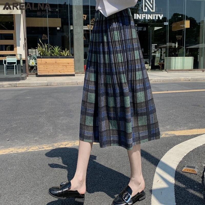 Korean Style Black School Pleated Skirt for Women Plaid Tweed Skirts Womens Long Skirts Womens Midi Skirt Checkered Tartan Skirt