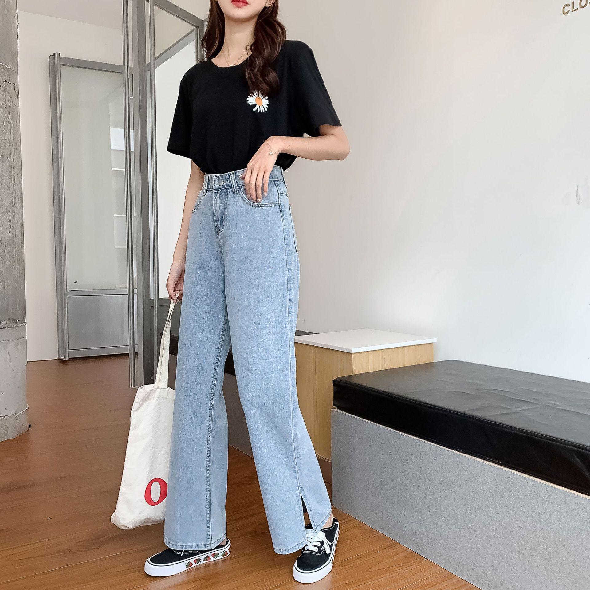 GoneGoing 2020 Summer Women High Split Denim Pants Straight Wide Leg Plus Size Full Length Jeans 070706