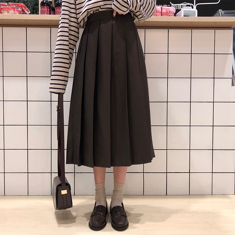 3 colors 2019 Spring Autumn Female long Skirts Women High Waist long pleated Skirt solid color a line skirt womens