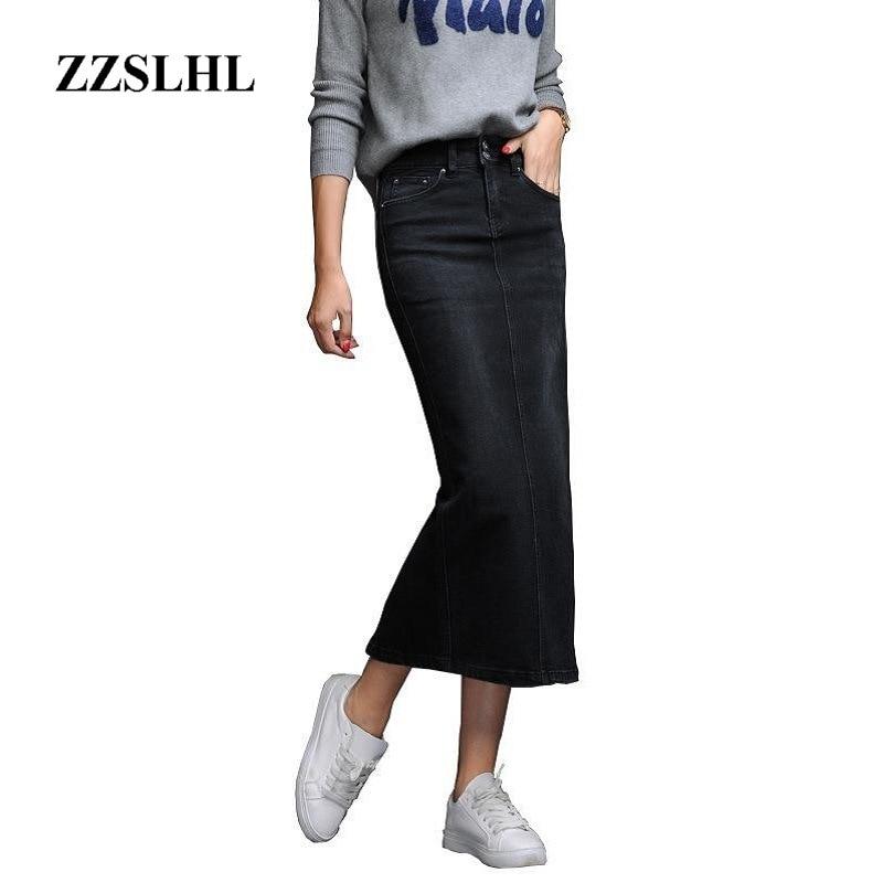 Classic Denim Skirt Woman Long Jeans Skirt Split High Waist Skirts Womens 2020 Women Skirt Washed Jupe Femme Black Blue 2