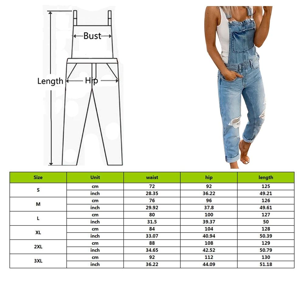 Women Overalls Denim Jumpsuit Bodysuit Summer Hole Ripped Ladies Jumpsuit Bib Pant Pocket Retro Romper Ladies Jeans With Pocket 2