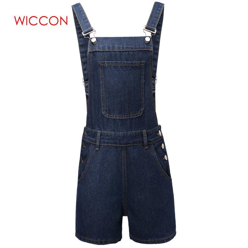 2020 Summer Spring Women Short Solid Denim Jumpsuit Romper Overalls Casual Jeans Shorts Girl Fashion Slim Playsuits 2