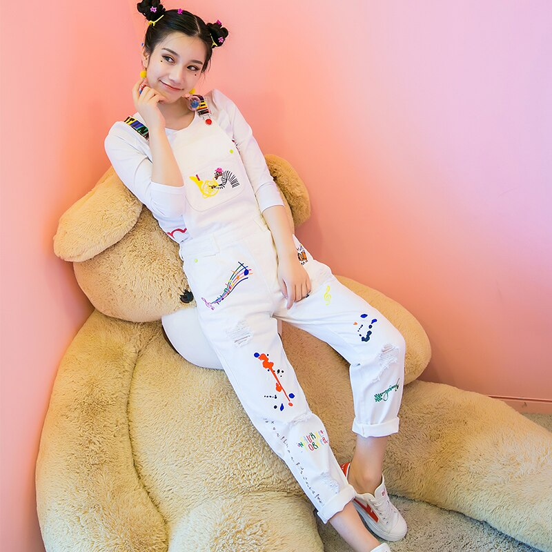 European embroidery holes denim jeans white rompers women casual jumpsuits leisure jeans overall capris ripped jeans NZ38 1