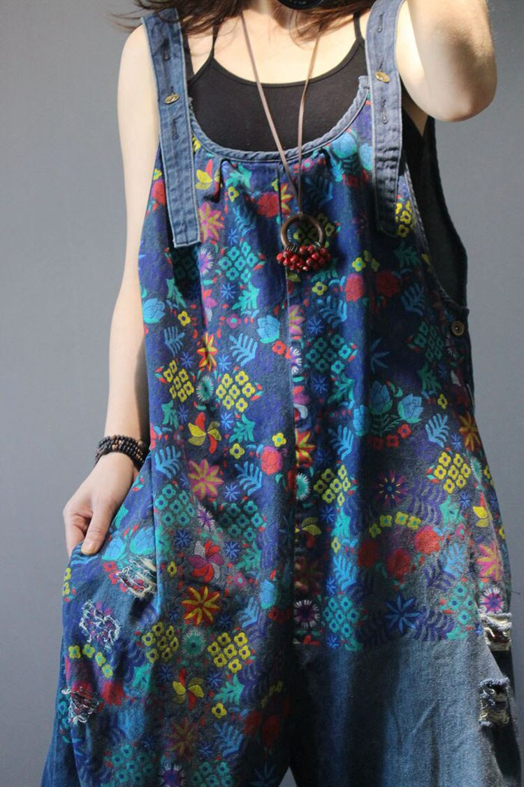 Women Denim Overalls Print Floral Vintage Plus Size Casual flower print Ripped Hole Wide Leg Jumpsuit Ladies Jeans Romper loose 4
