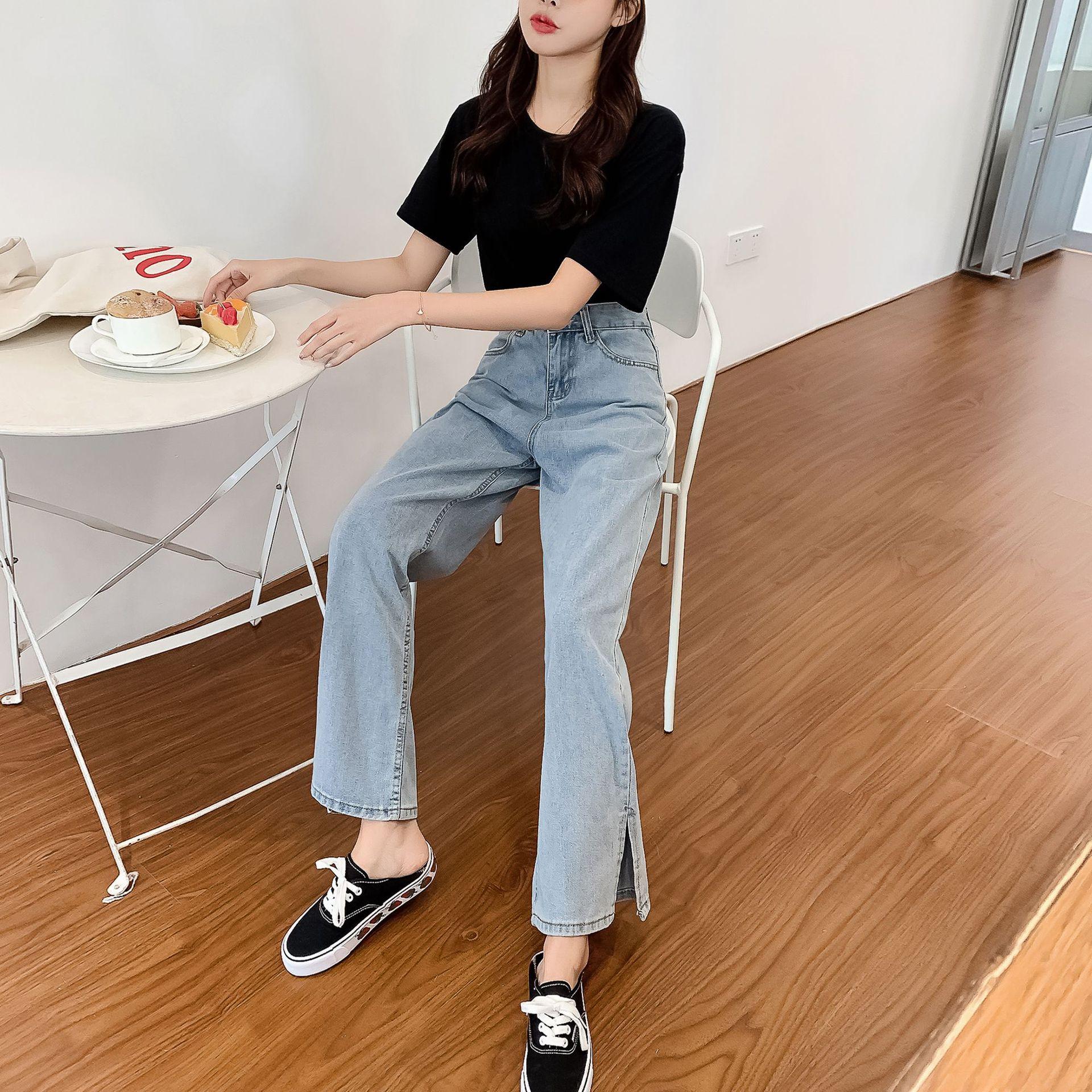 GoneGoing 2020 Summer Women High Split Denim Pants Straight Wide Leg Plus Size Full Length Jeans 070706 3