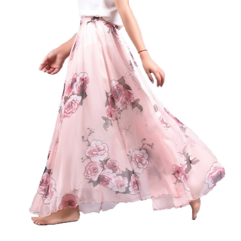 Elegant Summer Bohemian Maxi Skirts Women Long Skirt Chiffon Saia Beach High Waist Tutu Casual Vestidos Harajuku Print Clothes 2