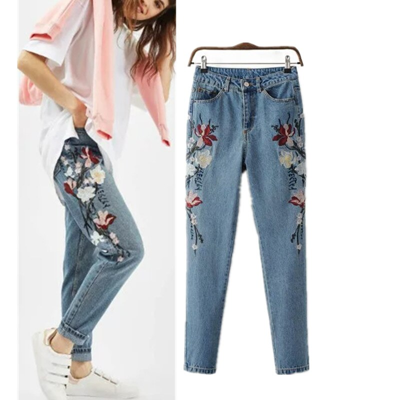 2019 Autumn Fashion Floral Embroidered Jeans For Women Vintage Straight Jeans Woman Denim Pants female Light blue casual pants