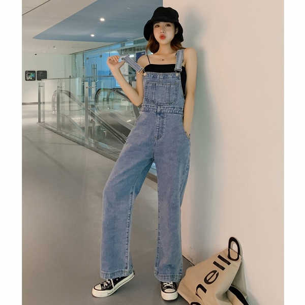 Ripped Denims For Ladies Broad-Leg Overalls Pants With Shoulders