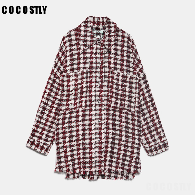 woman jacket houndstooth oversized tweed jacket long sleeve fashion tassel plaid coat loose woolen checkered outwear femme veste 1