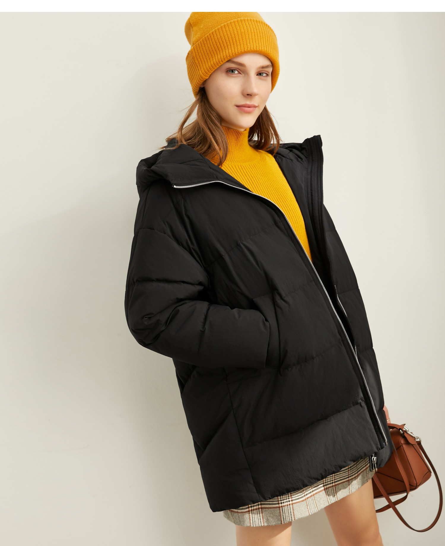 Amii Fashion Women Down Jacket Casual Solid Loose Hooded Zipper Female Thick Down Coat 11930381 3