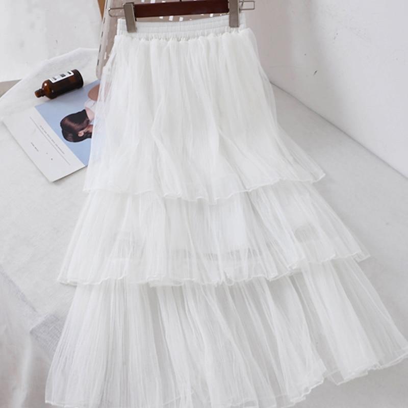 Women Sweet Chiffon Casual Long Skirt Female Preppy Style Students High Waist Skirts Pleated A-line Floor-Length Skirts 3