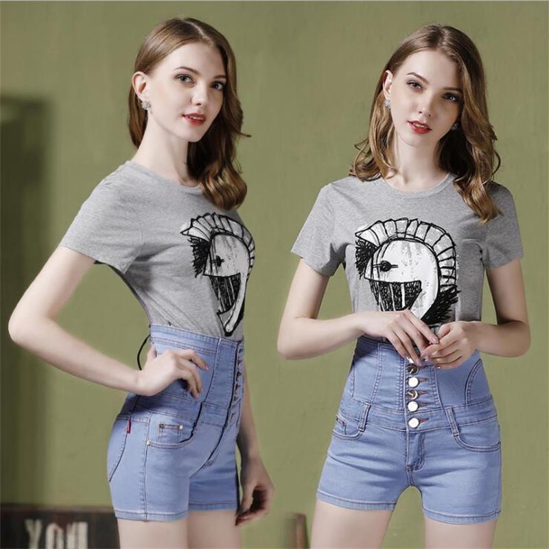 2019 new hot sale women's spring summer casual straight jeans shorts ladies big yards elastic high waist denim shorts S-5XL 3