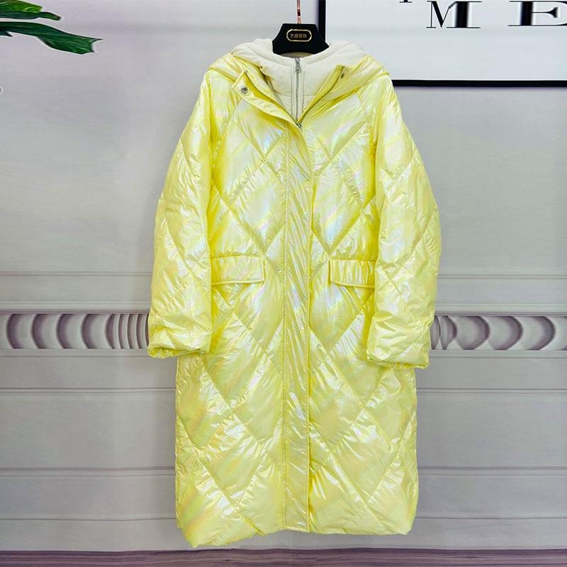 Oversize Hooded Women Down Jacket New Arrival Long Loose White Duck Down Coat Long Down Parka Female Warm Winter Coat Women 2