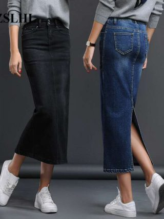 Lengthy Denims Skirt Cut up Excessive Waist Skirts
