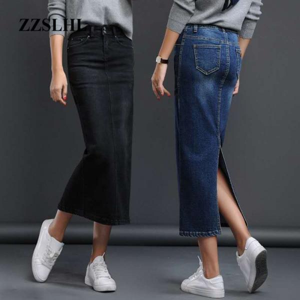 Lengthy Denims Skirt Cut up Excessive Waist Skirts