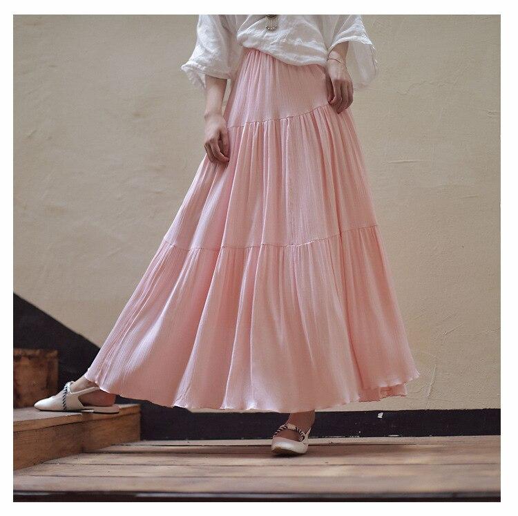 2019 Bohemian Women Stretch High Waist Solid Long Cotton Skirts Womens Boho Maxi Skirt Saia Longa Faldas Women Long Skirt 2
